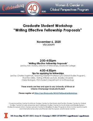 "Graduate Student Workshop ""Writing Effective Fellowship Proposals"""